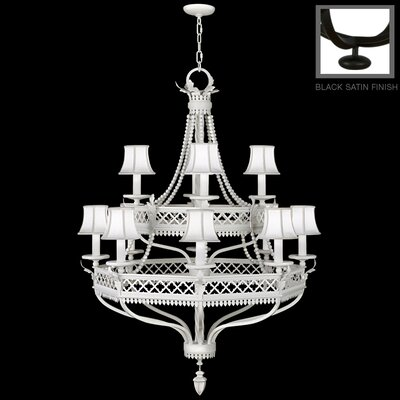 12-Light Shaded Chandelier Finish: Black Satin