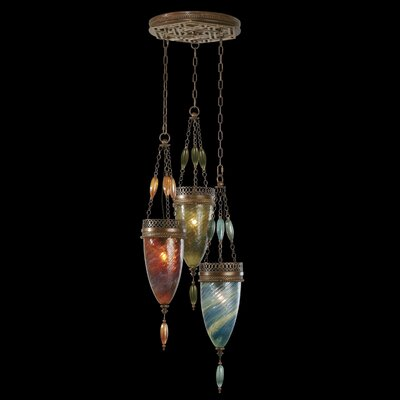 Scheherazade 3-Light Pendant Shade Color: Amber Dunes, Desert Sky Blue, and Oasis Green