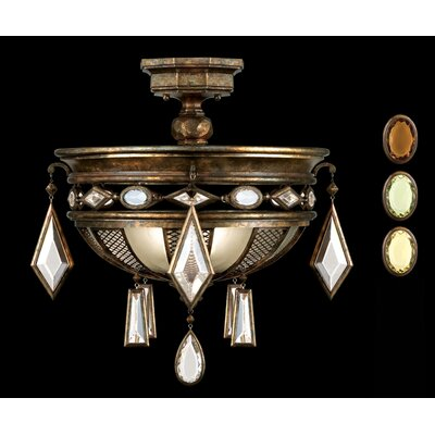 Encased Gems 3-Light Semi-Flush Mount Finish: Venerable Bronze Patina, Crystal: Multi-Color