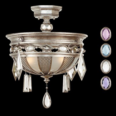 Encased Gems 3-Light Semi-Flush Mount Finish: Vintage Silver Leaf, Crystal: Multi-Color