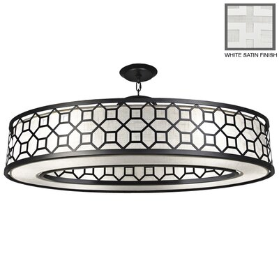 Black + White Story 6-Light Drum Pendant Finish: Studio White Satin