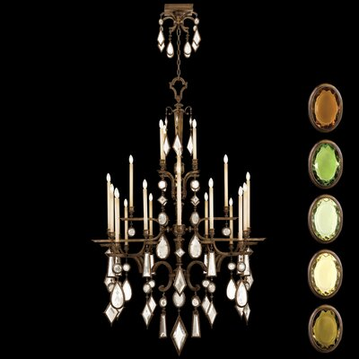 Encased Gems 24-Light Candle-Style Chandelier Crystal: Multicolor, Finish: Venerable Bronze Patina