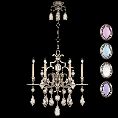 Encased Gems 6-Light Candle-Style Chandelier Crystal: Multicolor, Finish: Vintage Silver Leaf