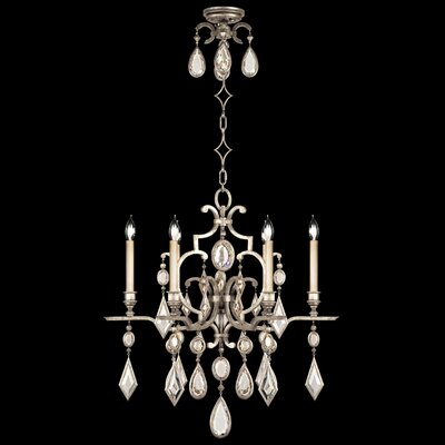 Encased Gems 6-Light Candle-Style Chandelier Finish: Variegated Gold Leaf, Crystal: Multicolor
