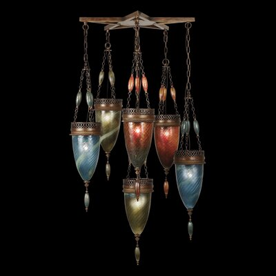 Scheherazade 6-Light Foyer Pendant Shade Color: Amber Dunes, Desert Sky Blue, and Oasis Green