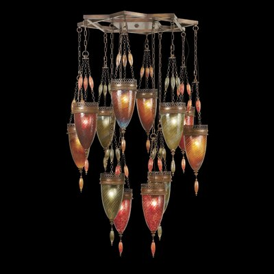 Scheherazade 12-Light Cluster Pendant Shade Color: Oasis Green, Amber Dunes and Sunset Red