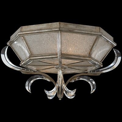 Beveled Arcs Gold 2-Light Flush Mount Finish: Muted Silver Leaf