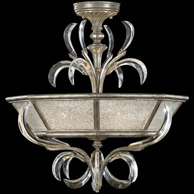 Beveled Arcs 3-Light Semi Flush Mount Finish: Muted Silver Leaf