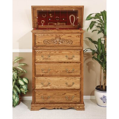 Lucie 5 Drawer Safe Top Chest Finish: Medium Wood
