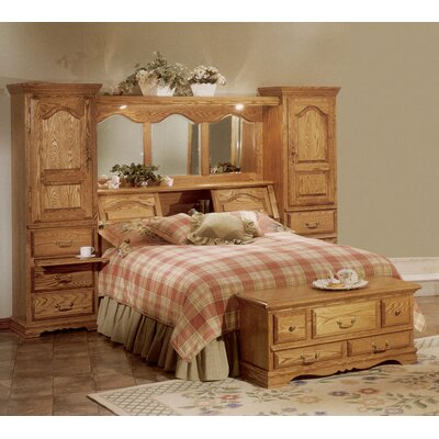 Lucie Bookcase Headboard Size: Queen, Color: Medium Wood