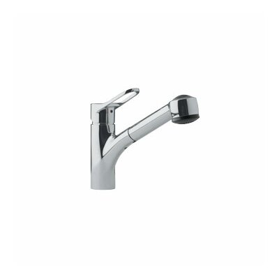 Single Handle Single Hole Kitchen Faucet with Pull Out Spray Finish: Satin Nickel