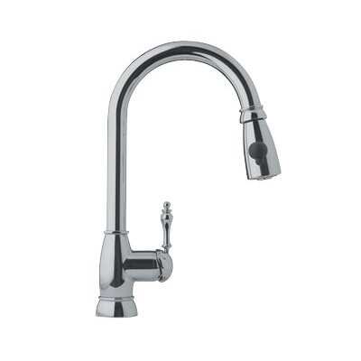 Farm House One Handle Single Hole Arc Pull Down Kitchen Faucet Finish: Satin Nickel