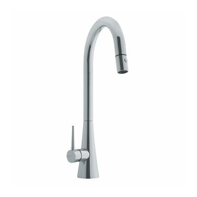 Contemporary Single Handle Single Hole Goose Neck Kitchen Faucet Finish: Satin Nickel