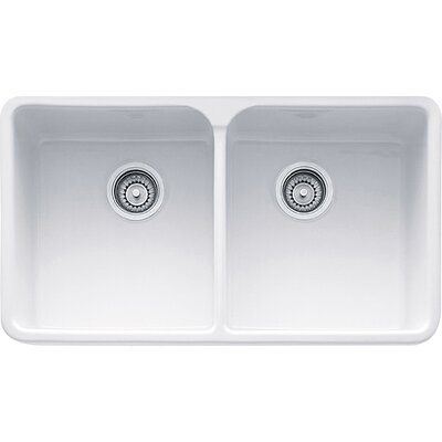 Manor House 31.75 x 19.88 Double Bowl Apron Fireclay Kitchen Sink