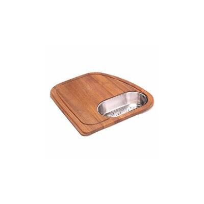 Vision Wood Cutting Board with Stainless Steel Colander in Teak VN-45SP