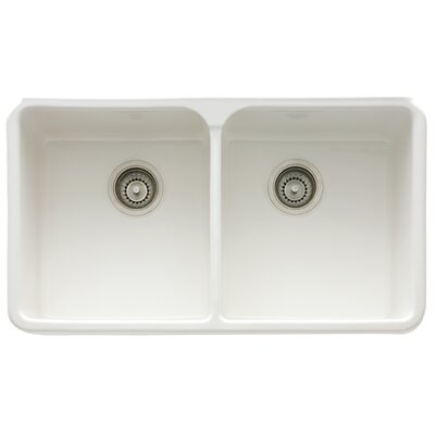 Manor House 31.75 x 19.75 Fireclay Double Bowl Apron Front Kitchen Sink Finish: White