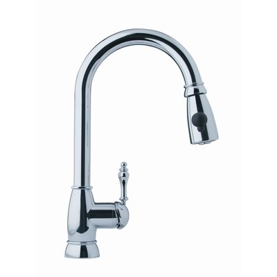 Farm House One Handle Single Hole Arc Pull Down Kitchen Faucet Finish: Polished Chrome