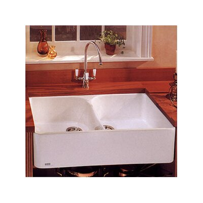 Manor House 35.5 x 21.63 Fireclay Double Bowl Apron Front Kitchen Sink Finish: White