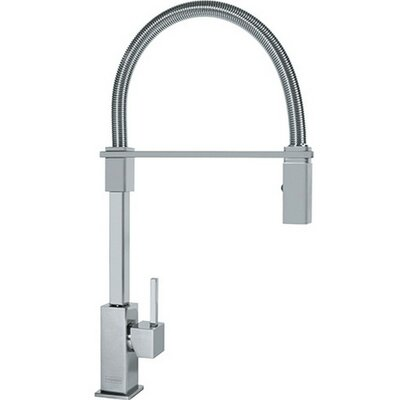 Planar Single Handle Deck Mounted Kitchen Faucet with Pull Down Spray Finish: Satin Nickel