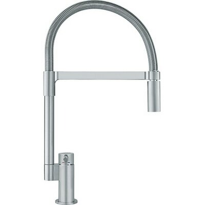 Manhattan Single Handle Deck Mounted Kitchen Faucet with Pull Down Spray Finish: Satin Nickel