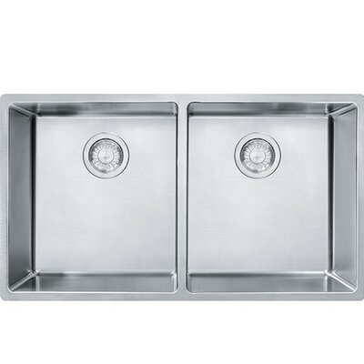Compact 31.5 x 17.75 Undermount Double Bowl Kitchen Sink