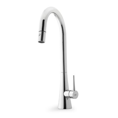 Contemporary Single Handle Single Hole Goose Neck Kitchen Faucet Finish: Chrome