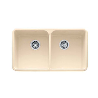 Manor House 31.75 x 19.75 Fireclay Double Bowl Apron Front Kitchen Sink Finish: Biscuit