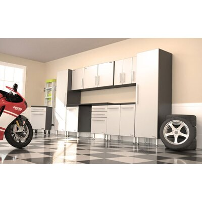 "Ulti-MATE Garage Pro 11 Piece Set with Work Surface, Rolling Casters, and Three 1-Door Wall Boxes - 6"" Adjustable Feet: Yes at Sears.com"