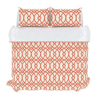 Piper 3 Piece Duvet Set Color: Coral, Size: King
