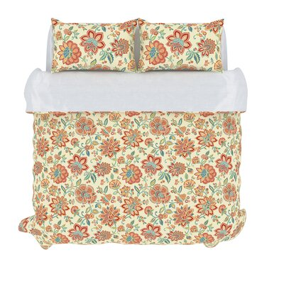 Bella 3 Piece Duvet Set Color: Melon, Size: King