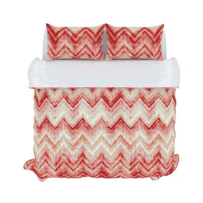 Germain 3 Piece Duvet Set Color: Coral Haze, Size: King