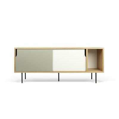 Garry 65 TV Stand Color: Oak Frame/ Pure White/Matte Doors/ BlackSteel Feet