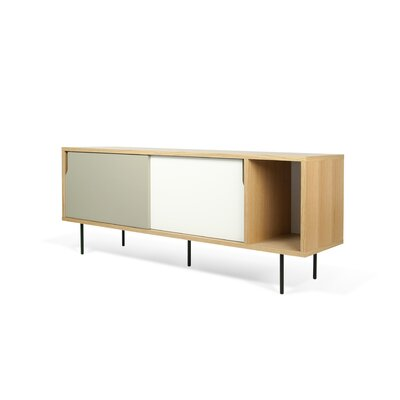 Garry 65 TV Stand Color: Oak Frame/ Pure White/Matte Doors/ BlackSteel Feet