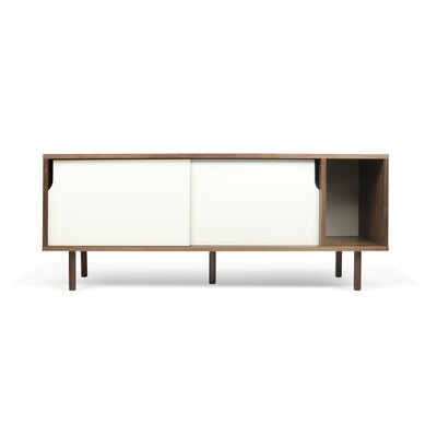 Garry 65 TV Stand Color: Walnut Frame/ Pure White Doors/ Walnut Feet