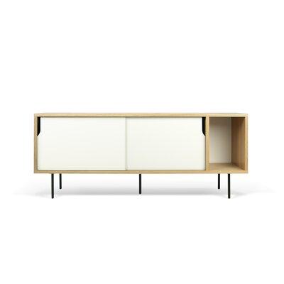 Garry 65 TV Stand Color: Oak Frame/ Pure White Doors / Black Steel Feet
