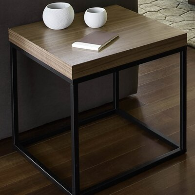 Prairie End Table Color: Walnut / Black Lacquered