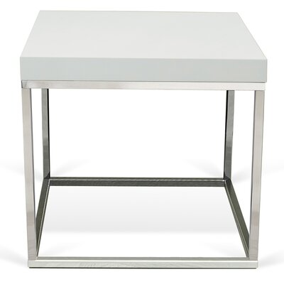 Prairie End Table Color: White Lacquered / Chrome