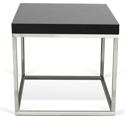 Prairie End Table Color: Black Lacquered / Chrome