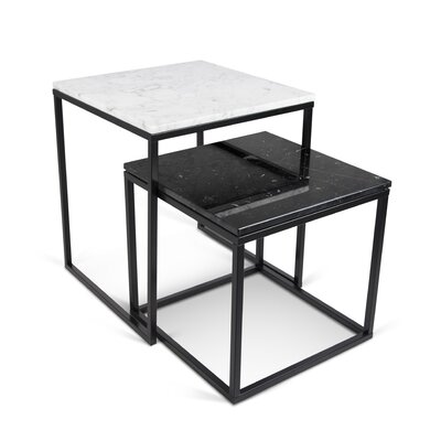 Prairie 2 Piece Nesting Tables Finish: White & Black / Black