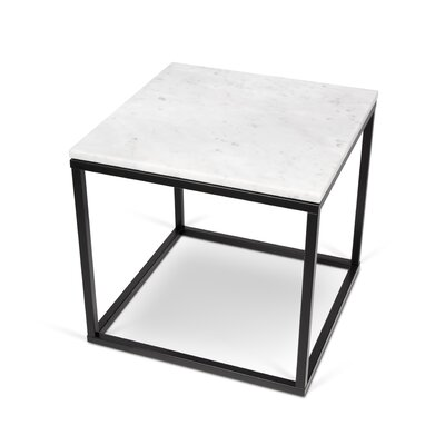 Prairie End Table Table Base Color: Chrome, Table Top Color: Black