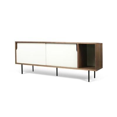 Garry 65 TV Stand Color: Walnut Frame/ Pure White Doors / Black Steel Feet