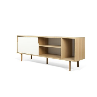 Garry 65 TV Stand Color: Oak Frame/ Pure White Doors/ Oak Feet