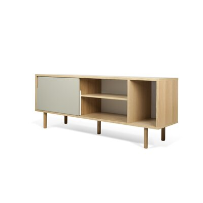 Garry 65 TV Stand Color: Oak Frame/ Pure White/Matte Grey Doors/ Oak