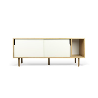 Garry 65 TV Stand Color: Oak Frame/ Pure White Doors/ Oak Feet