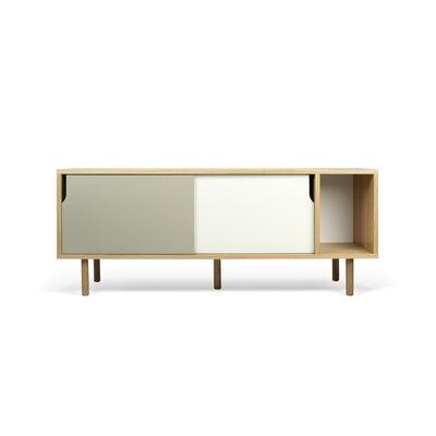 Garry 65 TV Stand Color: Oak Frame/ Pure White/Matte Grey Doors/ Oak