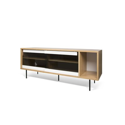 Garry 65 TV Stand Color: Oak Frame/ Pure White/Glass Doors/ BlackSteel Feet