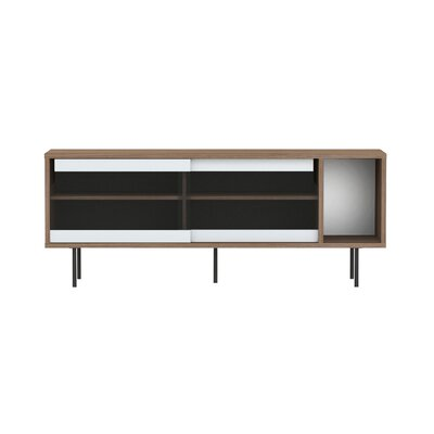 Dann TV Stand Finish: Walnut Frame/ Glass Doors / Black Steel Feet