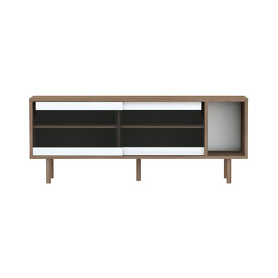 Garry 65 TV Stand Color: Walnut Frame/ Glass Doors/ Walnut Feet