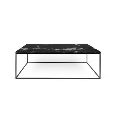 Gleam Coffee Table Top Finish: Black Marble, Base Finish: Black Lacquered Steel