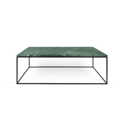 Gleam Coffee Table Base Finish: Black Lacquered Steel, Top Finish: Green Marble